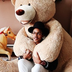 Martell says he'll often sit in the lap of the teddy bear when he's stressed.
