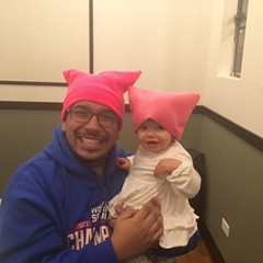 Dion and Arwen Morales show off their pussyhats