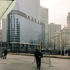Chicago police began to fence off Trump Tower hours before a planned protest on inauguration day.
