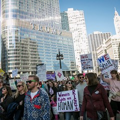 Hundreds of thousands of people protested outside the Trump Tower and in the streets Saturday as part of the Women's March on Chicago.
