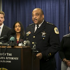 CPD superintendent Eddie Johnson, center, with former U.S. attorney general Loretta Lynch, right, announcing the findings of the Department of Justice report