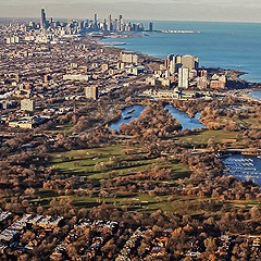 Aerial view of Jackson Park, site of the future Obama Presidential Center