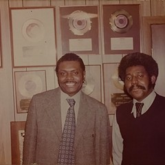Willie Barney (left) in his record shop