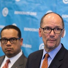 Newly elected Democratic National Committee chairman Tom Perez, right, and Minnesota congressman Keith Ellison