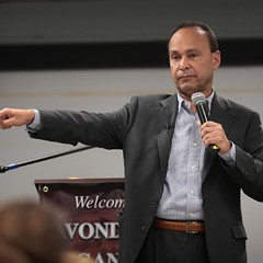 U.S. rep Luis Gutierrez speaks to guest during a town hall meeting on March 6 in Chicago.