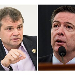 Illinois congressman Mike Quigley, left, questioned FBI director James Comey, right, during House Intelligence Committee hearings March 21.
