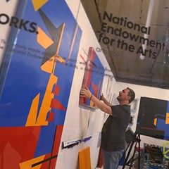 Claudio Roncoli, a recipient of an award from the National Endowment for the Arts, works in his studio space at the Bakehouse Art Complex in Miami, Florida. President Donald Trump has proposed eliminating the NEA and the National Endowment for the Humanities.