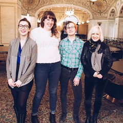 The Frontwoman Fest team: Adele Nicholas of Axons and Impossible Colors, Jessica LeMaster and Kit Curl of Girls Rock! Chicago, and Elaine Davis of Spaces of Disappearance