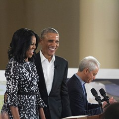 Michelle and Barack Obama at the South Shore Cultural Center Wednesday