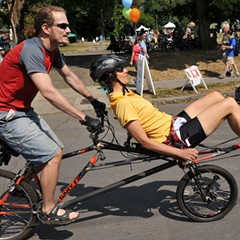 Riders on an adaptive bike at a 2011 Portland car-free streets event