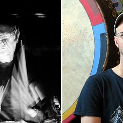 Jon Mueller and Mike Weis meditate with drums at the Zen Buddhist Temple-Chicago