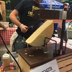 "Baked Cheese Haus at Daley Plaza Farmers Market. Raclette, comes from the French racler, which translates as ""to scrape."""