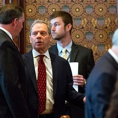 Senate president John Cullerton speaks with minority leader Bill Brady on Tuesday, when the senate overrode Governor Bruce Rauner's veto of the state's first budget package passed since 2015.