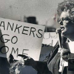Activist Gale Cincotta leads a protest outside of the American Bankers Association meeting at McCormick Place in 1980.