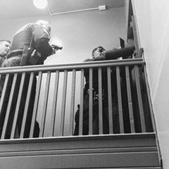Cook County Sheriff's deputies break down a door while performing an eviction in April 2017
