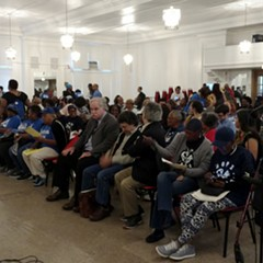 Attendees gathered at Mount Pisgah Baptist Church in Bronzeville last Thursday for an educational event on rent control.