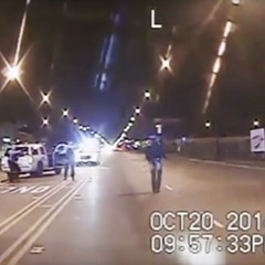 The infamous dash-cam video showing Laquan McDonald, right, walking down the street moments before being fatally shot 16 times by Chicago Police officer Jason Van Dyke