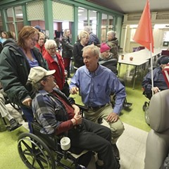 Illinois governor Bruce Rauner at the Illinois Veterans Home in Quincy