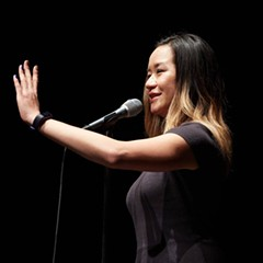 A performer at The Moth's 2017 event in Chicago. The special GrandSlam storytelling competition takes place 2/28.