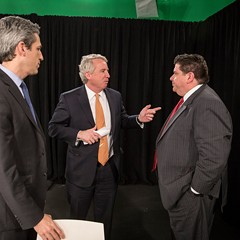 The three Democratic gubernatorial front-runners at a forum in January