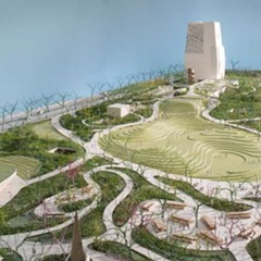An artist's rendering of the proposed Obama Presidential Center campus in Jackson Park