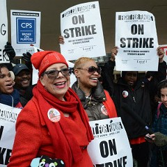 Chicago Teachers Union president Karen Lewis takes part in a one-day strike called in 2016.
