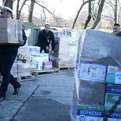 Still from of the staging of emergency supplies in Humboldt Park during the 2017 Hurricane Maria relief effort for Puerto Rican evacuees.