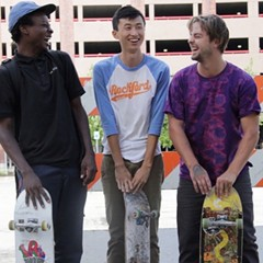 Liu (center) with Keire Johnson and Zack Mulligan in Minding the Gap