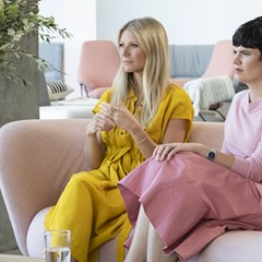 Forget a white lab coat, The Goop Lab is covered in pastels.