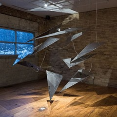 The sculptural elements of Requiem: A White Wanderer, shown here installed at Experimental Sound Studio