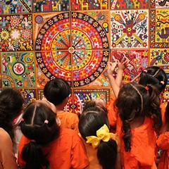 "Children at the ""Huichol"" mural at the National Museum of Mexican Art, one of many museums that can afford to stay free thanks to census-related funding."