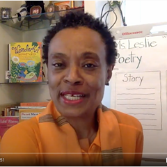 """Poet Leslie Reese works with second graders at Swift Elementary School through the """"Hands on Stanzas"""" virtual program."""