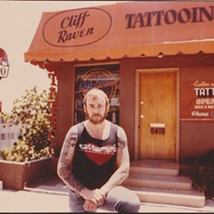 Cliff Raven outside Sunset Strip Tattoo shortly after buying it from Lyle Tuttle— there are more Raven flash, memorabilia, and photos like this at Great Lakes Tattoo.