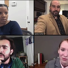 The Spin, clockwise from top left: Elana Elyce, Matthew Martinez Hannon, Laura Berner Taylor, Salar Ardebili