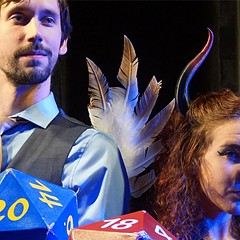 Bayley Pokorny and Katie Ruppert in Out on a Whim's Improvised Dungeons & Dragons at Otherworld Theatre