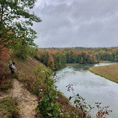 The Manistee River is an incredibly special place with some steep climbing, gorgeous trees, and a river running through it.