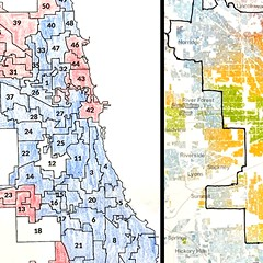 """How aldermen voted on """"DuSable Lake Shore Drive"""" (left) and Chicago racial demographics (2010 data) from the Racial Dot Map (right.) Each dot on the map represents one person. Blue = white, green = Black, red = Asian, and orange = Hispanic"""