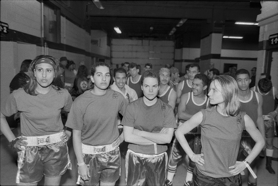 Boxer's Introduction—Sima Patel, Sarah Lahalih, Meghan Jada, Mary Ann Zoellner of the Tough Enough boxing club at the finals in Rosemont, 1994 - By Jon Randolph