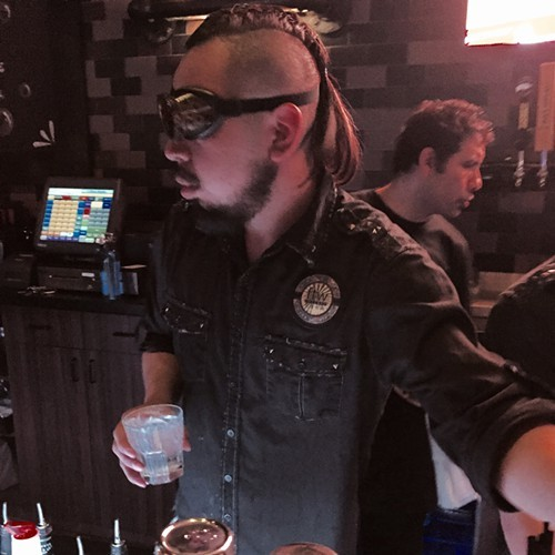 One of FTWs head bartenders fully committed to a sci-fi look.