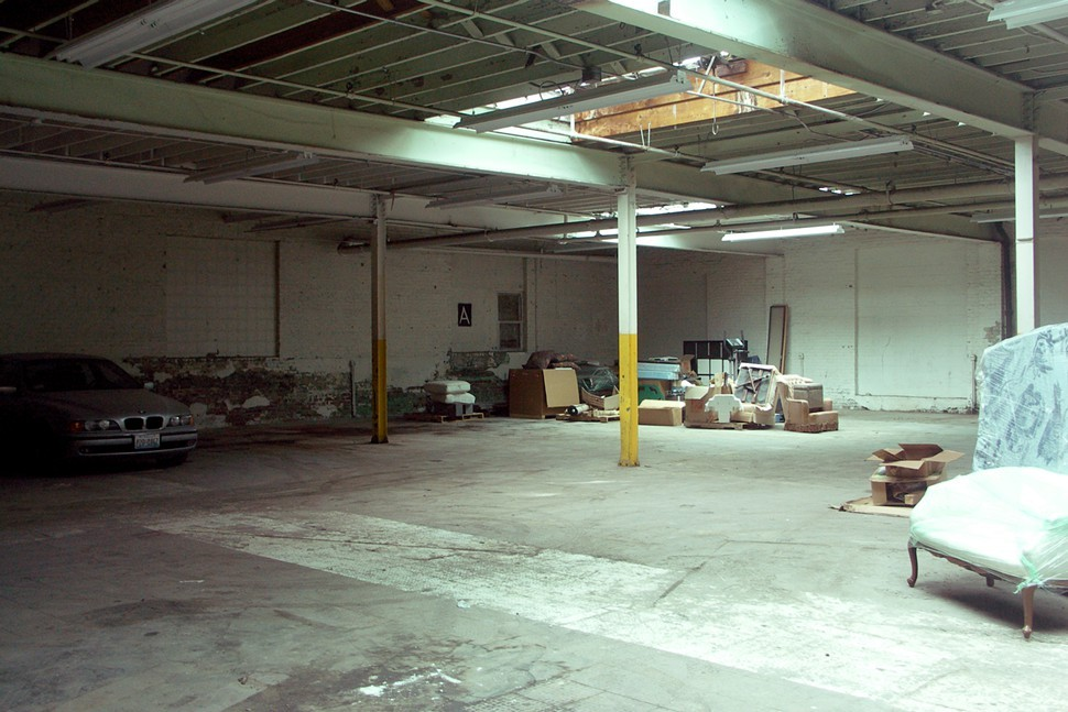 The future barrel warehouse. Im told that the abandoned jumble of boxes and furniture in the corner includes an air-hockey table.