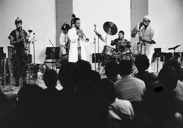 The Art Ensemble of Chicago, probably the best-known group to arise from the AACM, performs at the MCA in 1979. From left to right: Joseph Jarman, Malachi Favors, Lester Bowie, Don Moye, and Roscoe Mitchell. - MCA CHICAGO
