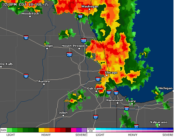 Doppler view of the storm that descended on Chicago Saturday during the Pitchfork Music Festival. - COURTESY ACCUWEATHER.COM