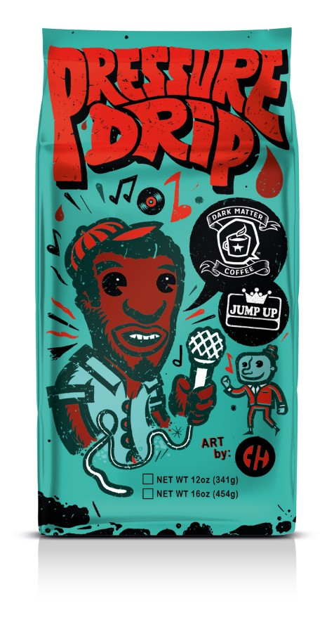 A bag of Pressure Drip Jamaican-inspired coffee, with artwork by Reader contributor Chema Skandal