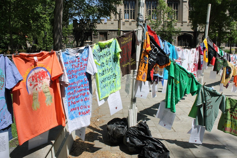 The most recent UChicago Clothesline Project installation, from May 2015. Each shirt represents a sexual assault survivor's story. - COURTESY VERONICA PORTILLO HEAP