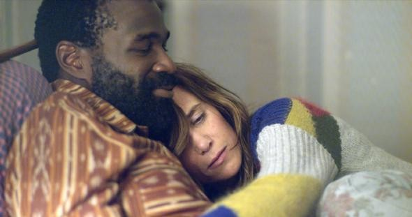 Tunde Adebimpe and Kristen Wiig in Nasty Baby