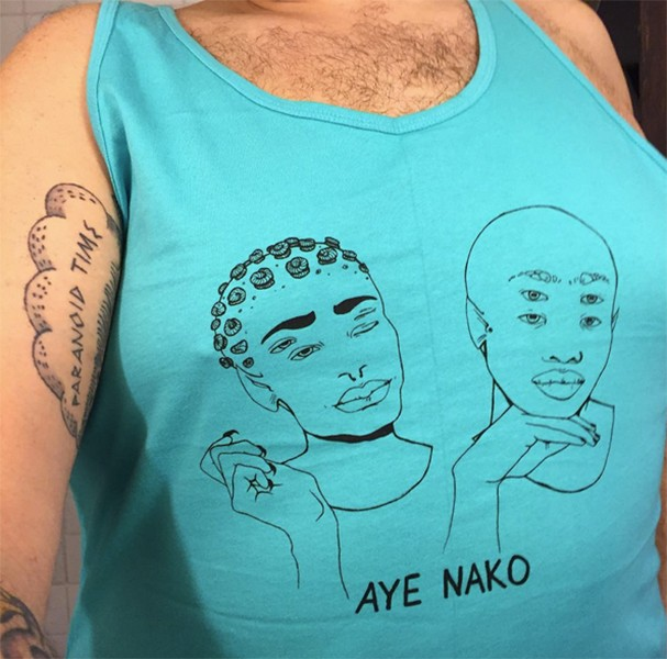 "Aye Nako's ""gay aliens"" tank top - COURTESY STEPHEN SOWLEY"