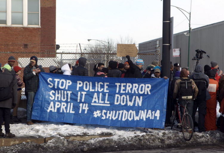 Protesters at a February 2015 demonstration push for the shut down of Homan Square. - KEVIN TANAKA FOR SUN-TIMES MEDIA