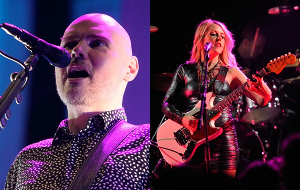 Smashing Pumpkins front man Billy Corgan and imminent tourmate Liz Phair - PHOTOS BY OWEN SWEENEY AND KEITH HALE