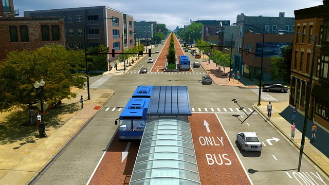 A rendering of the proposed Ashland Avenue BRT corridor. - CTA