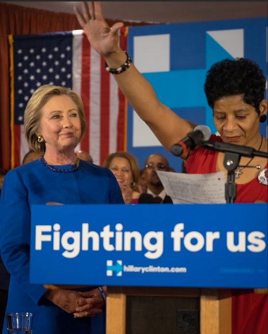 Geneva Reed-Veal, Sandra Bland's mother, introduced Clinton at Wednesday's rally in Chicago. - CHRIS RIHA